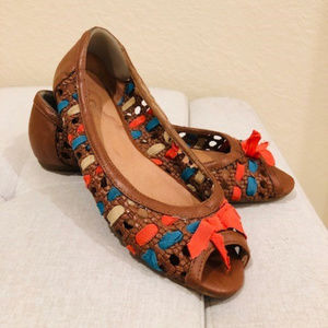 Aldo Brown Summer peap toe flat